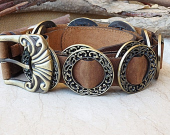 Leather belt. Brown leather belt. Buckle leather belt for women leather belt. Circle metal ornamented belt. Women's leather belt. Boho belt
