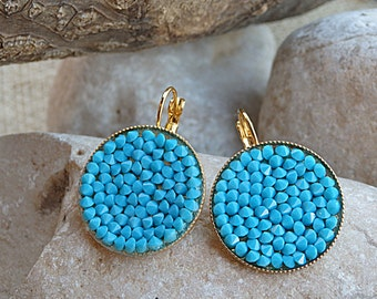 Round drop earrings. Turquoise jewelry, Large Turquoise earrings.  Light blue earrings, Bridesmaids gift, Bridal earrings, Women gifts