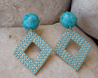 Genuine turquoise earrings . Blue Turquoise Swarovski Crystal Earrings. Gold Geometric Earrings. Stud Earrings. Turquoise Rhombus Earrings