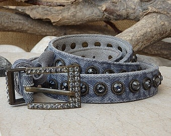 Jeans textile belt. Blue leather belt. Buckle belt for women. Women's blue belt. Leather Cotton Textile Belt . Gray crystal suede blue belts