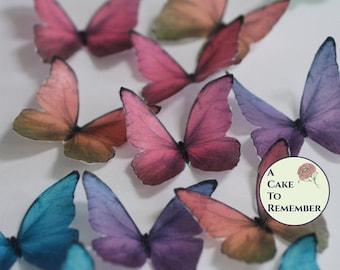 Edible butterflies, 12 wafer paper blue morpho butterflies wedding cake topper, cake decorating, cupcake decorating. butterflies for cakes