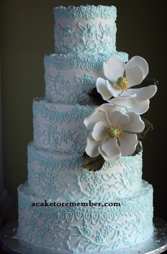 Flower Topper Wedding Cake Gumpaste Magnolia For Decorating Sugar Flowers Edible Cakes
