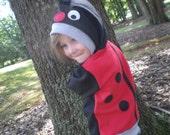 Ladybug Hoodie, lady bug sweatshirt, kids shirt, size 4T, Toddler sweatshirt, Imagination, play shirt, animal hoodie