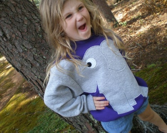 Grape purple Childrens Elephant Trunk sleeve sweatshirt,  sweater, elephant jumper, KIDS small, medium or large