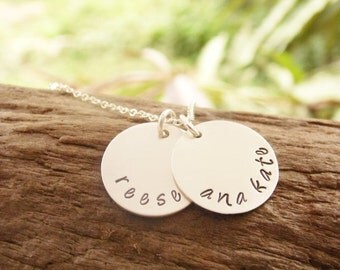 Kids Name Necklace Sterling Silver Hand Stamped Disc Mother Necklace with Kids Names One Two Three Four
