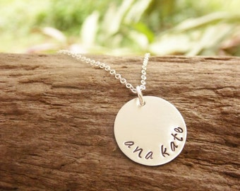 Sterling Silver Hand Stamped Disc Mommy Necklace with Kids Name