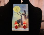 Red, Ivory and Gold Enamel Ribbon Earrings  Plaid Avon Pierced