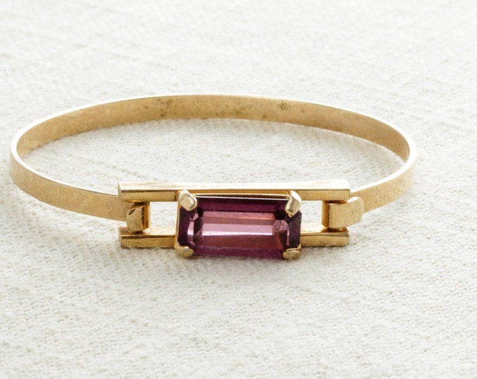 Purple & Gold Vintage Cuff | Simple True Vintage Bracelet | Skinny Cuff | Amethyst Stons | Costume Jewelry | Jewellery | Signed Avon 15A