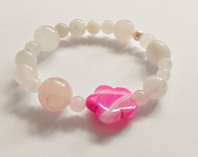 Mixed pink gemstone stretch bracelet