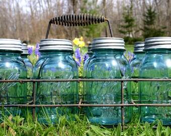 6 Aqua Ball Mason Quart Jars WITH Lids ~ Vintage WEDDING Centerpiece Jars Wedding Vase ~ Perfect Mason Canning Jars ~ INSURANCE wShipping