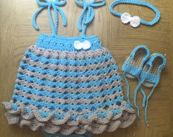 Crochet Baby Girl Romper Dress Set, Headband, Romper, Sandals, 3 to 6 Months, Ready to be Shipped, Free US Shipping