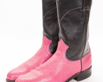 30% OFF Roper Boots womens Size 6.5 B  Justin 2 Tone Pink and Black
