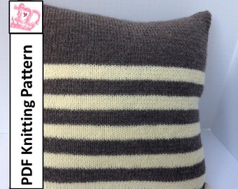 "PDF KNITTING PATTERN, knit pillow cover pattern, Stripe pillow cover, 18""x18"""