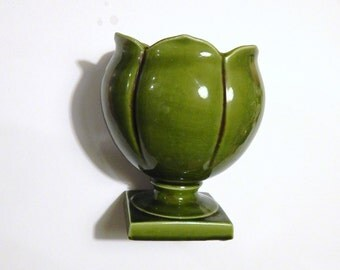 Vintage Pottery Vase - McFarlin Freeman Pottery - USA Pottery - Green Vase - Tulip Urn Footed