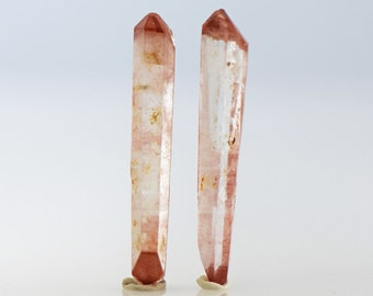Hematite Quartz Crystals Pair of Doubly Terminated Natural Crystals