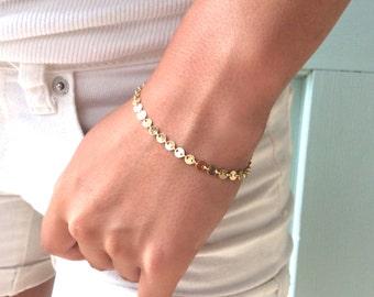 Gold Coin Bracelet, Dainty Gold Bracelet, Bridesmaids Jewelry Bridesmaid Bracelet Layering Bracelet Birthday Gift Gold Bracelet Gift for Her