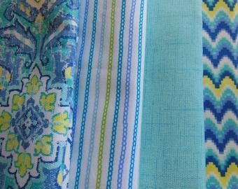 Aqua Cloth Napkins - Blue Napkins - Medallion Napkins - Turquoise Stripe Napkins -  Blue Scallop Napkins - Lime Green Stripe Napkins -Yellow
