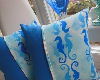 Seahorse Pillow - Coastal Blue Pillow - Designer Pillow - Reversible 15 x 15 Inch - Coastal Blue and White Pillow - Seahorses and Stripes