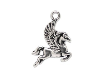 SALE - 10 Pegasus Charms in Silver Tone - C2290