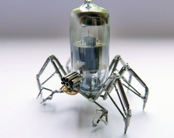 Vacuum Tube Spider Sculpture No 9 Mechanical Recycled Watch Parts Clockwork Arachnid Figurine Stems Lightbulb Arthropod A Mechanical Mind
