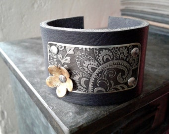 Etched Leather Cuff Bracelet