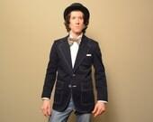 mens vintage sport coat red white blue mod blazer sport jacket vintage 1970 70s vintage slimfit wide lapel 36 36R