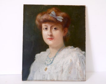 French antique portrait oil panting of a women signed