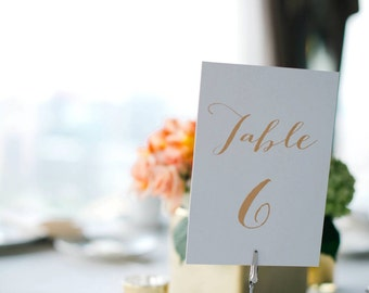 Custom Designed Wedding Reception Table Numbers 1-20 DIY Print-Ready