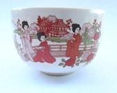 Vintage Japanese Geisha Teacup Sakura Cherry Blossom Off White Cream Ceramic Pottery Ladies Maiko Spring Camellia Red Flowers Miniature Bowl