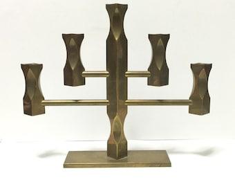 Vintage Lars Akesson for Vallonmassing Brass Candleholder / candelabra, modernist, swedish modern, c1986. Signed