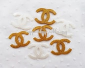 4pcs - Fancy XL Gold White Glittery Logo Mix Decoden Cabochon (49x35mm) CH10033