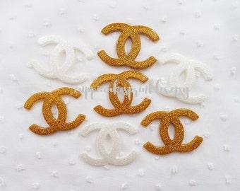 4pcs - Fancy XL Gold White Glittery Logo Mix Decoden Cabochon (49x35mm) CH10033