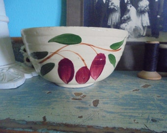 Watts bowl with red bud flowers