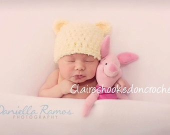 Winnie the pooh baby hat, yellow fluffy baby bear hat, newborn photography prop