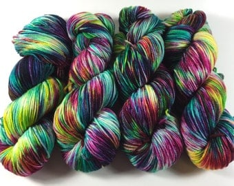 Light Worsted, DK, Hand dyed yarn,  Superwash Merino, Vibrant Victory, double knitting, multi colored, variegated