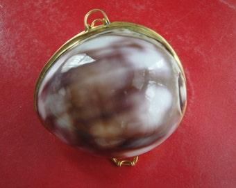 Purple Top Cowrie Clamshell Coin Purse Pill Box