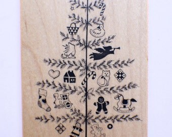 Psx Wooden Rubber Stamp G-372 Primitive Christmas Tree With Ornaments