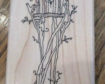 1995 Annette Allen Watkins Birdhouse Bird House Home  Wooden Rubber Stamp