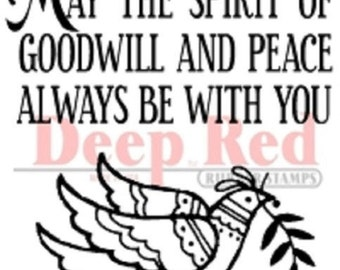 Deep Red Rubber Cling Stamp May the Spirit of Peace Be with You