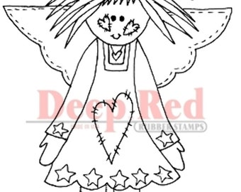 Deep Red Rubber Stamp Raggedy Angel Love