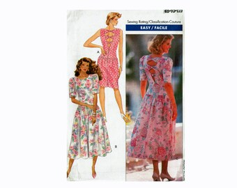 Open back dress with interest 1980s dress uncut sewing pattern Butterick 4084 Sizes 8 10 12 Bust 31 1/2 32 1/2 34 drop waist easy to sew