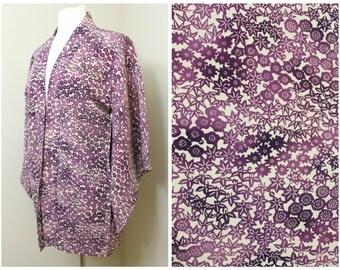 Japanese Haori Jacket. Vintage Silk Coat Worn Over Kimono. Floral Plum / Cherry Blossom in Purple (Ref: 1193)