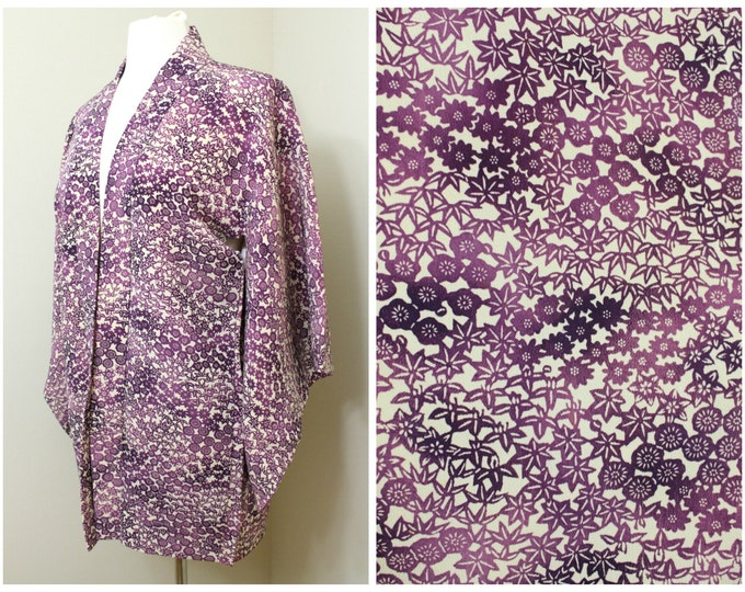 Japanese Haori Jacket. Vintage Silk Coat Worn Over Kimono. Floral Plum / Cherry Blossom in Purple (Ref: 1193)