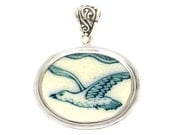 Broken China Jewelry Oresund Blue Seagull Gull Bird Sterling Horizontal Oval Pendant