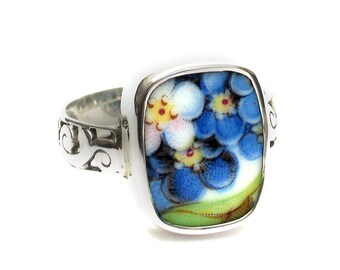 Size 10 Broken China Jewelry Blue Forget Me Not Flowers AC Sterling Ring