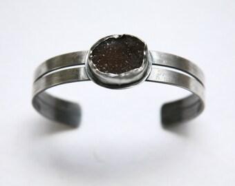 Natural Drusy Quartz Sterling Silver Cuff Bracelet