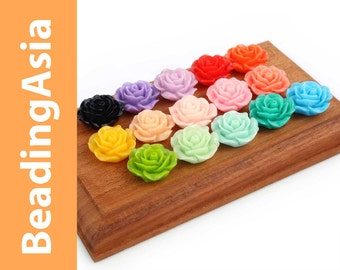 20 pcs Resin Cabochons Flower Rose 15mm Assorted Colors (652-047L)
