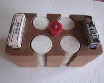 vintage poker chip caddy.wood, with bakelite knob, cards and chips