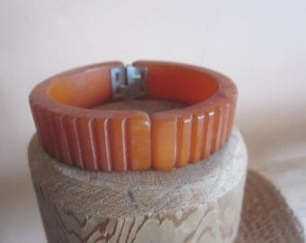 butterscotch bakelite clamper bracelet, deep color, vintage bakelite