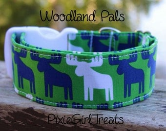 Moose Dog Collar, Woodland Dog Collar, Camping Dog Collar, Green Dog Collar, Wide Dog Collar, 2 Inch Wide Dog Collar, Large Dog Collar